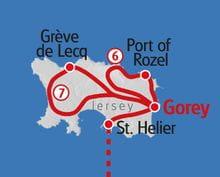 Wandern Normandie Jersey Karte