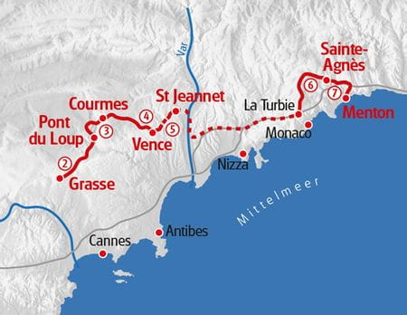 Wandern Cote d' Azur Karte