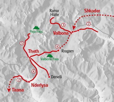 Hiking Albania Map