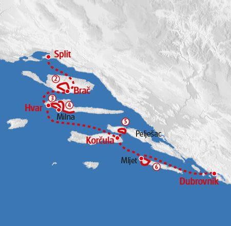 Walking croatian islands map
