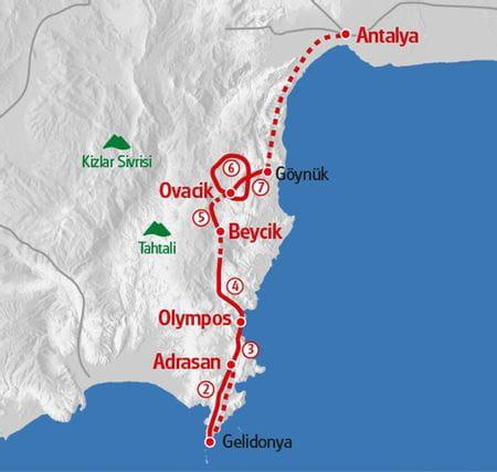 Hiking Lycian Path map