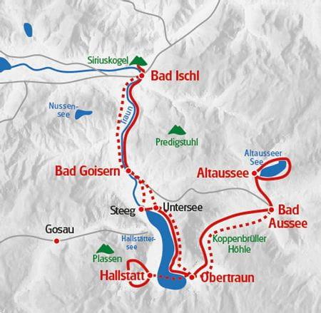 Wanderreise Salzkammergut Fluesse und Seen Karte