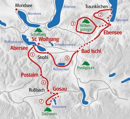 Salzkammergut lakes and Dachstein glacier map