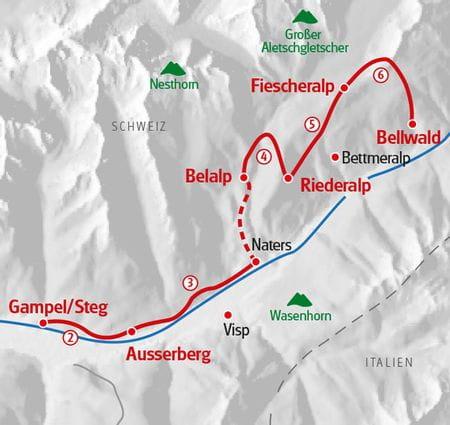 Walking Aletsch Panorama Trail map
