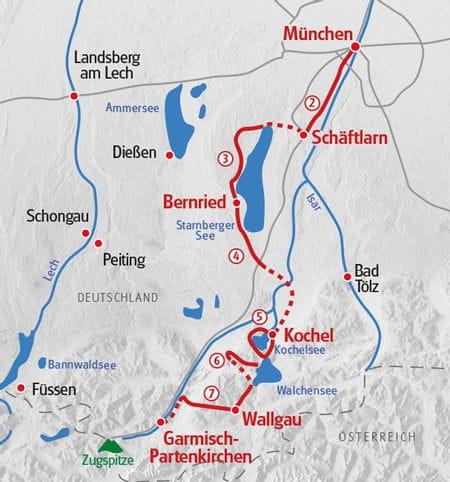 Walking from Munich to Garmisch map