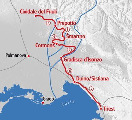 Walking Alpe Adria Trail Italy map