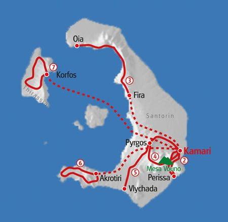 Hiking Santorini map