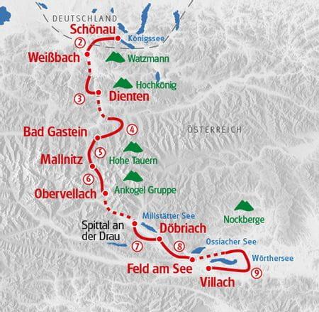 Map alps crossing lake Koenigssee - lake Woerthersee