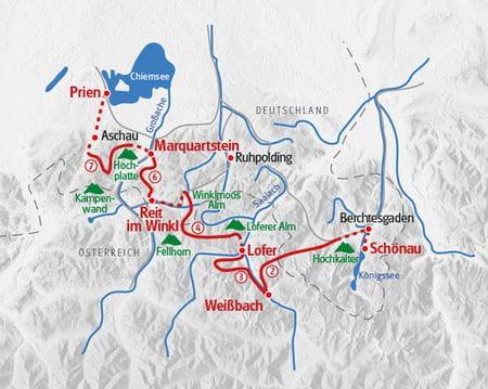 Walking lake Königssee lake Chiemsee map