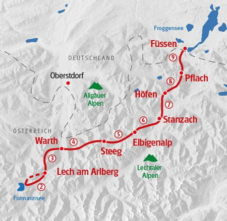 Wandern Lechweg Karte