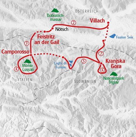 Karte Wandern Alpe Adria Trail Villach