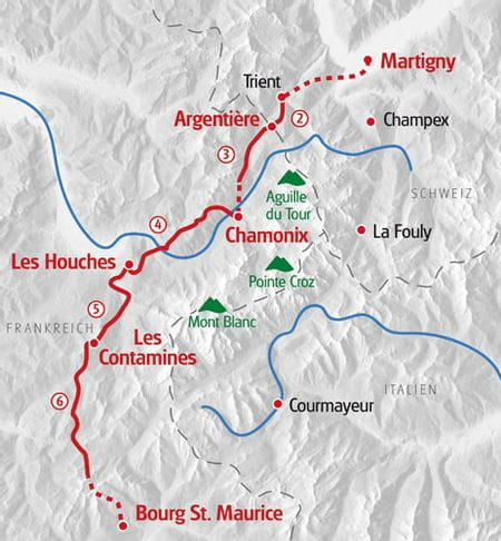 Hiking Mont Blanc West map