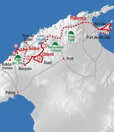 Fincawandern Mallorca Karte