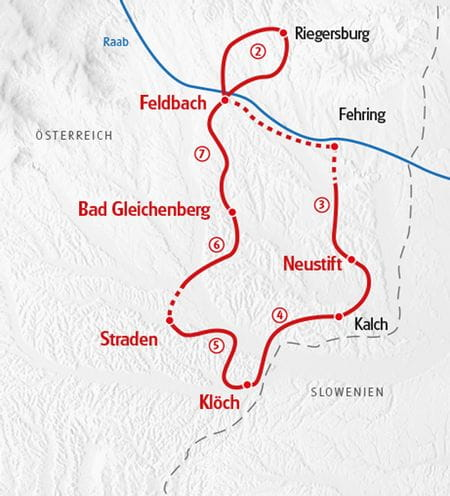 Wandern Vulkanlandweg - Karte Steiermark