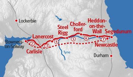 Hadrians Wall Wanderung Karte