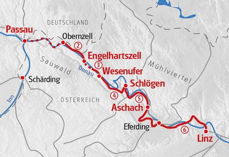 Walking Danube Trail Map