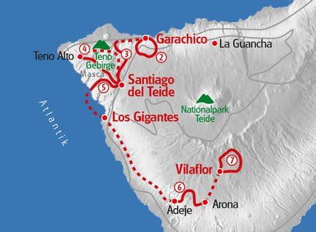 Wandern Teneriffa individuell Karte