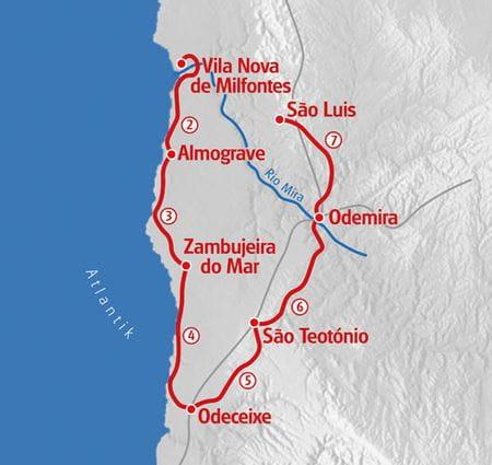 Hiking Rota Vincentina map
