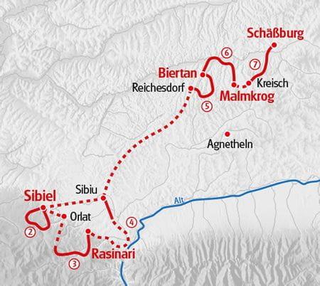 Wandern Siebenbuergen Karte