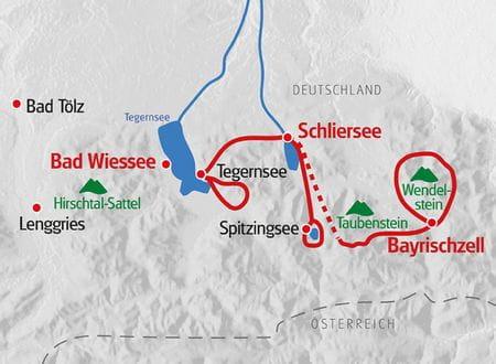 Wanderreise Bayern Karte