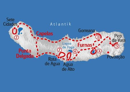 Wandern Azoren Karte