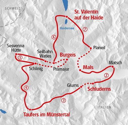 Walking Vinschgau map