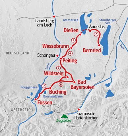 Wandern Koenig-Ludwig-Weg Karte