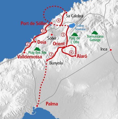 Hiking Mallorca highlights map