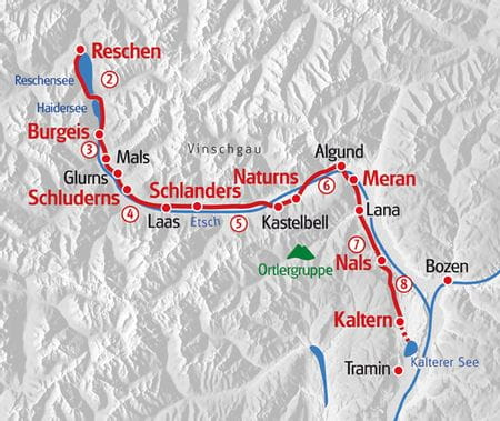 Hiking Via Claudia 2 South Tyrol map