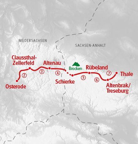 Wanderkarte Harzer Hexenstieg - Eurohike