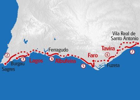 Algarve Coastal Hike Map