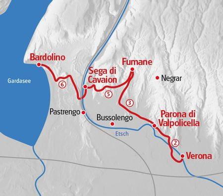 Walking from Verona to Lake Garda map