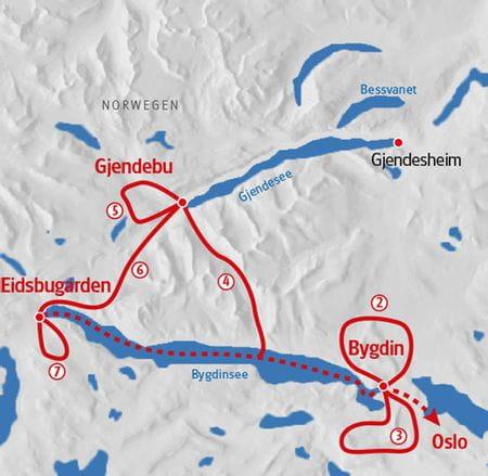 Map walking Norway Jotunheimen