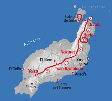 Hiking Lanzarote map
