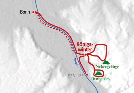 Wanderreise Siebengebirge Koenigswinter Karte