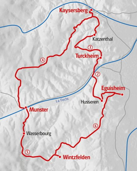 Walking Vineyards and Vosges map