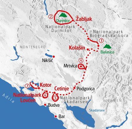 Hiking Montenegro map