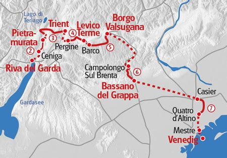 From Lake Garda to Venice Map