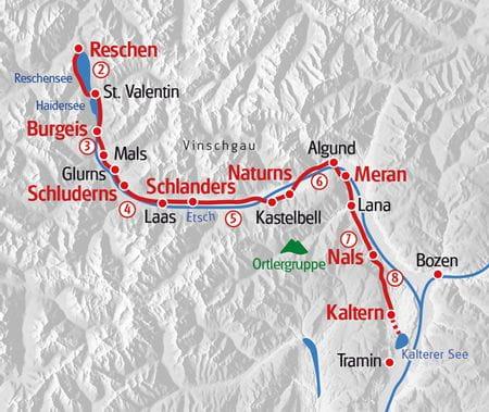 Reschensee-Kalterersee Karte