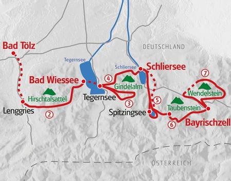 Wandern Tegernsee - Wendelstein Karte