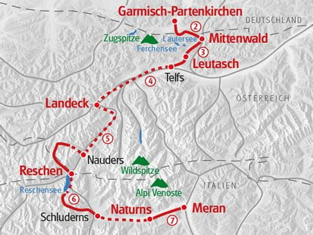 From Garmisch to Meran Hiking Map