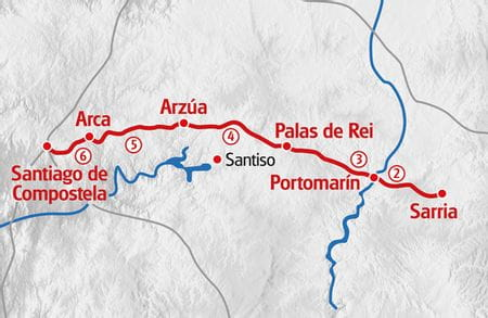 Hiking Sarria - Santiago de Compostela map