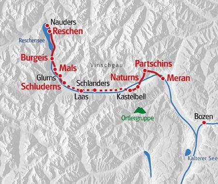 Wanderreise Suedtirol Karte