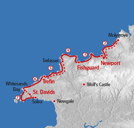 Walking Pembrokshire Coastal Path map