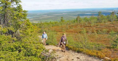 Wandern ohne Gepäck auf den Hügel Kätkätunturi