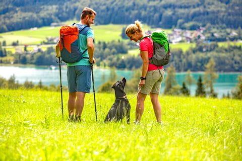 Wanderer mit Hund auf der Genneralm