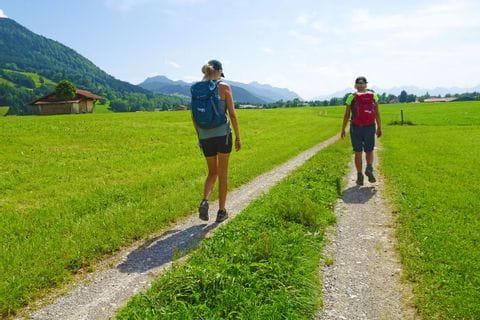 Wanderer auf einem guten Wanderweg durch grüne Wiesen in Bayern