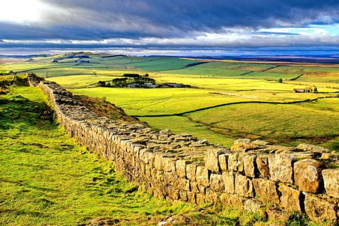 Wide view of the landscape along the Hadrians Wall