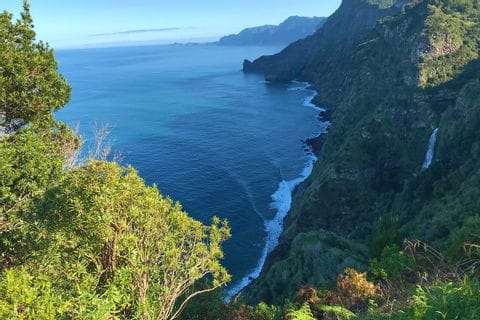 Stunning view at the steep cliffs of Madeira