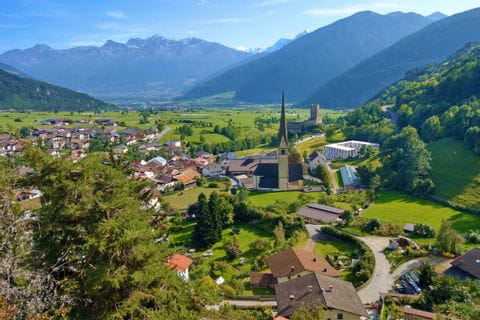 Wide view into the picturesque Vinschgau valley